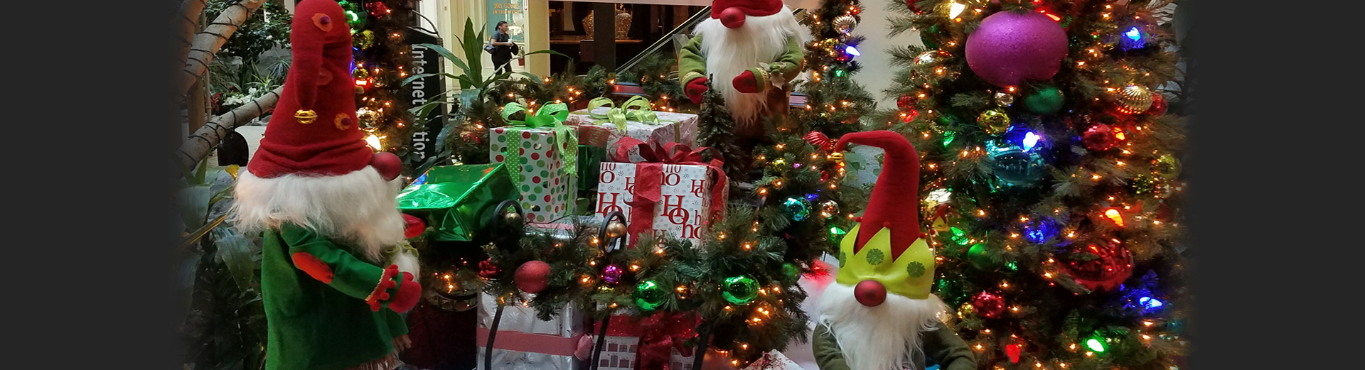 Christmas Decor with Tree, Wrapped Gifts and Bearded Elves